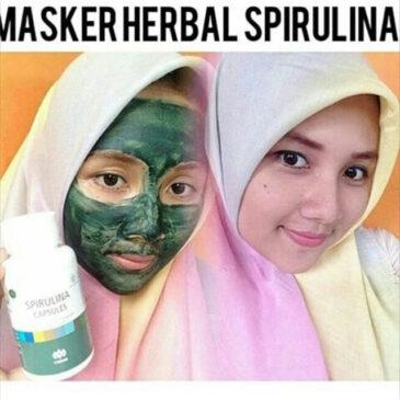 Masker Spirulina Tiens 50 Kapsul Wajah Cerah, Kencang & Putih Alami